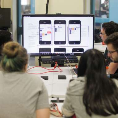 A group of students building a phone app