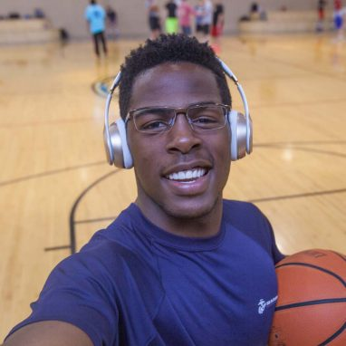 Student selfie on basketball court
